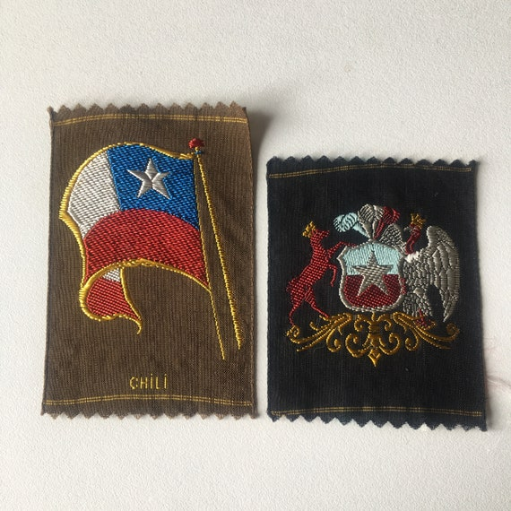 Vintage Dutch woven silk tobacco patch: flag and arms Chili