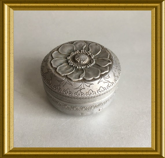 Art nouveau aluminium small round box, flower decor