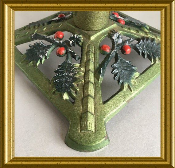 Vintage small cast iron christmas tree stand, holder