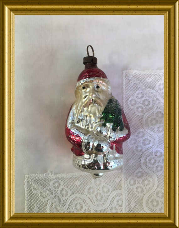 Vintage glass christmas ornament: red Santa Claus