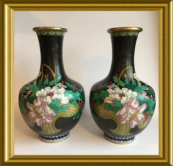 "Pair vintage Chinese cloisonne vases: Zi Jin Cheng, 10"", flowers butterfly"