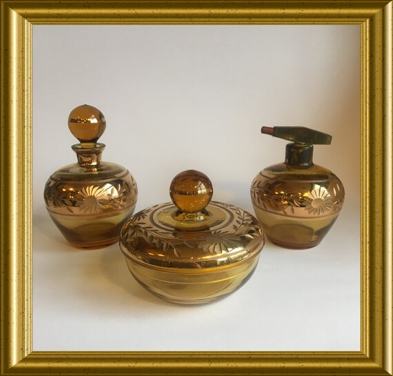 Vintage Bohemian glass dressing table vanity set, amber and gold