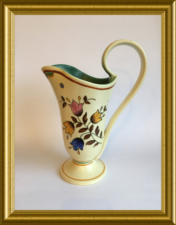 Beautiful hand painted art pottery vase / jug, PZH Gouda