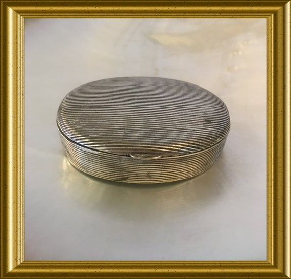 Antique small oval silver box