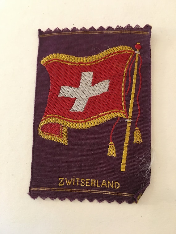 Vintage woven Turmac silk: flag Switzerland