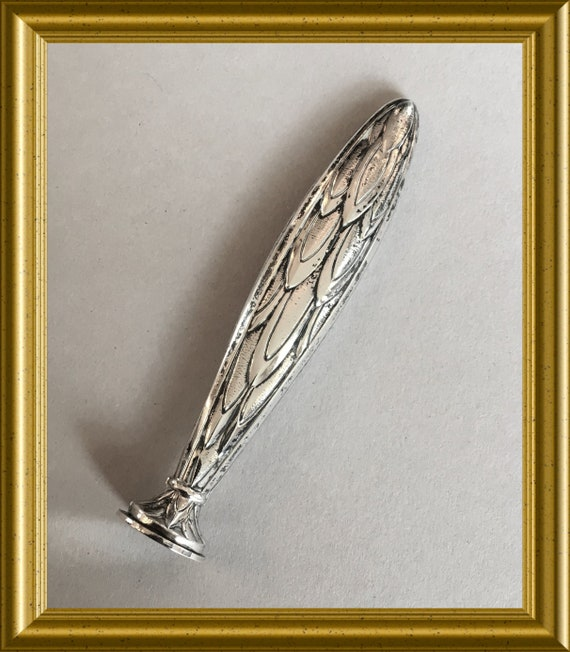 Art nouveau silver wax seal stamp, feather decoration