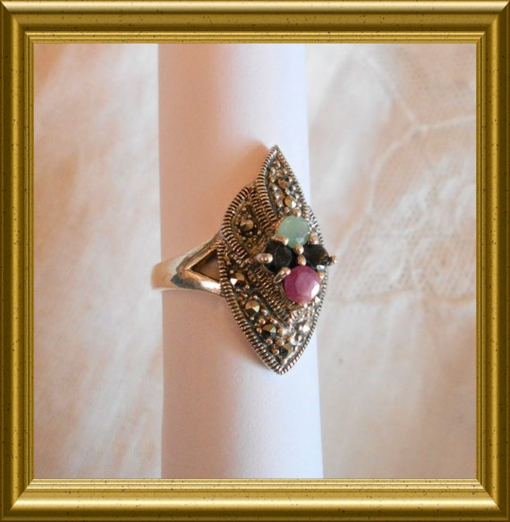 Beautiful silver ring with marcasite