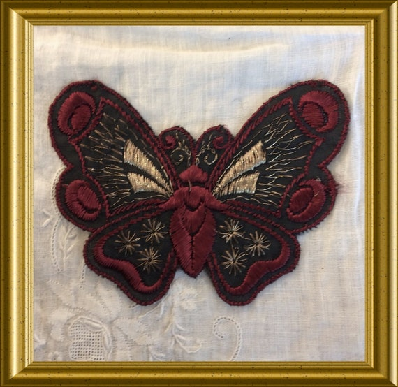Vintage Turmac silk applique from the 30's: butterfly