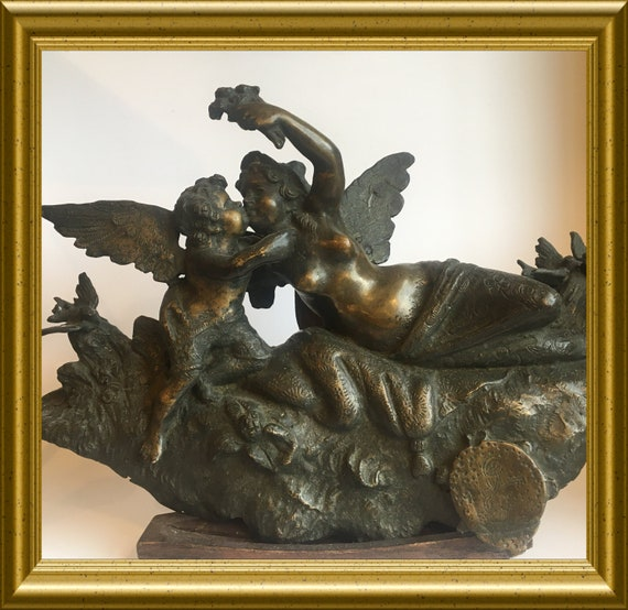 Local pick-up in Gouda only: antique bronze ornament/ figurine, shipping not available
