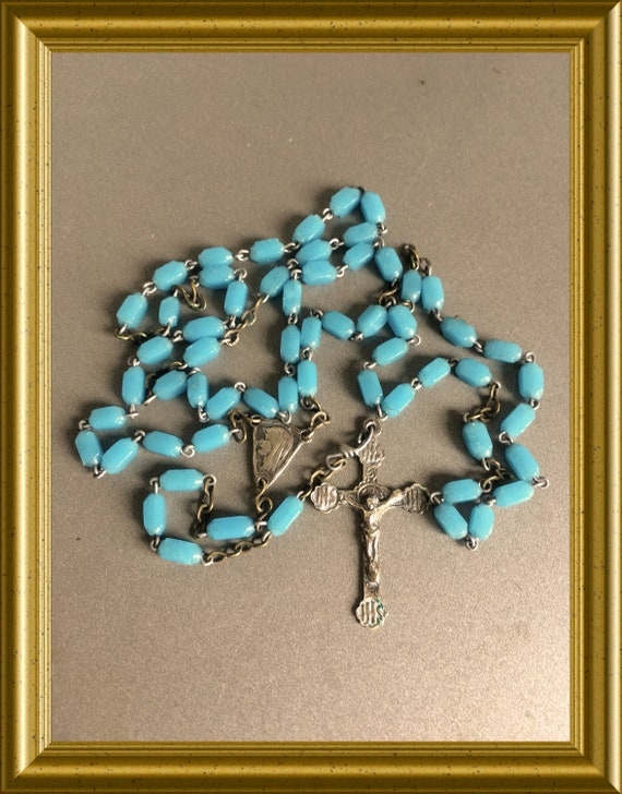 Vintage small light blue glass rosary