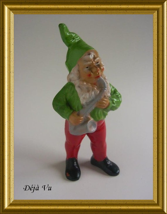 Vintage terracotta figurine : gnome with saxophone