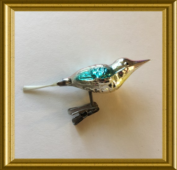 Antique glass christmas ornament: clip on bird