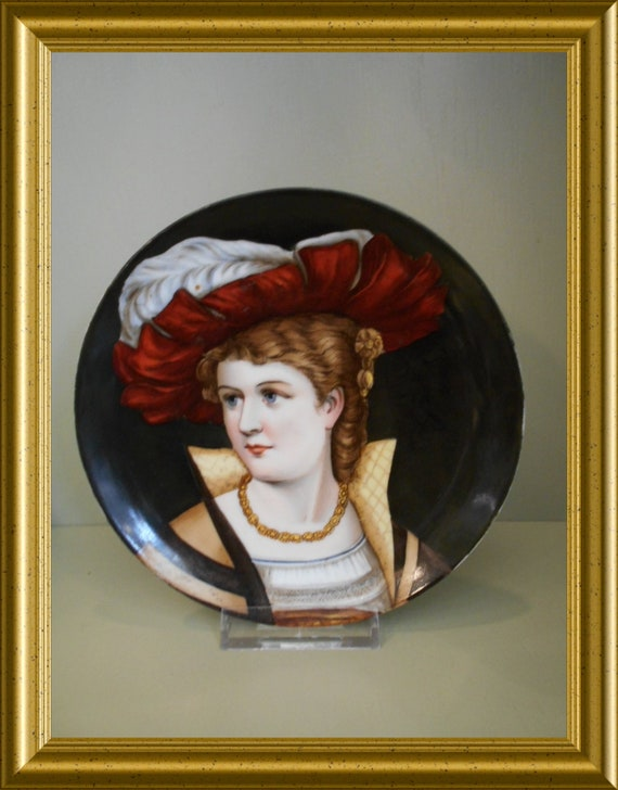 Antique handpainted porcelain plate with portrait
