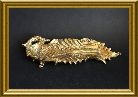 Vintage brass tray: dragon