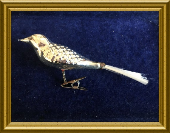 Vintage silver glass christmas ornament: clip on bird