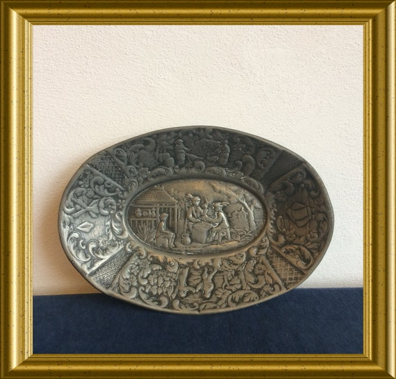Antique pewter oval dish