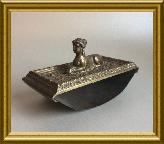 Antique brass ink blotter : Sphinx, Egypt