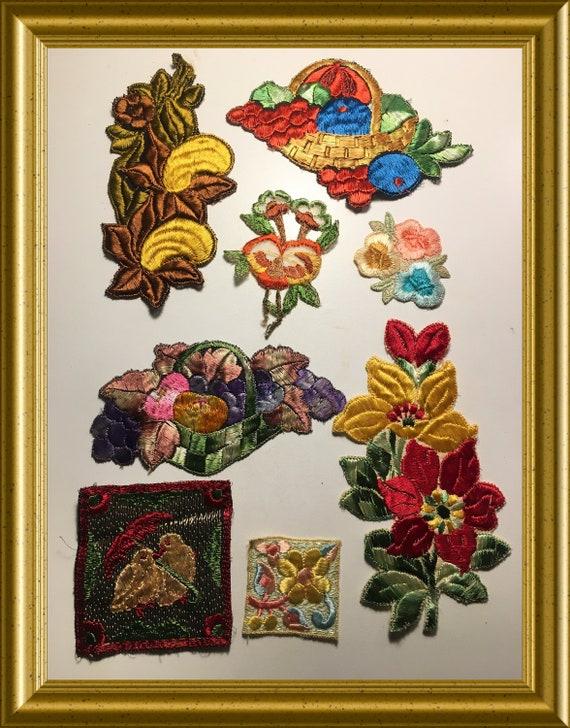 8 vintage Turmac silks: flowers, birds, fruitbasket