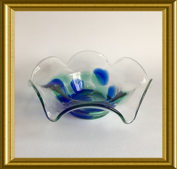 Vintage glass bowl: blue and green