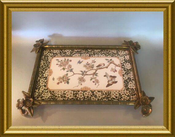 Art nouveau tray: ceramic and bronze, chinese decoration blossom and birds
