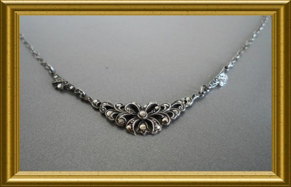 Lovely silver necklace with marcasite