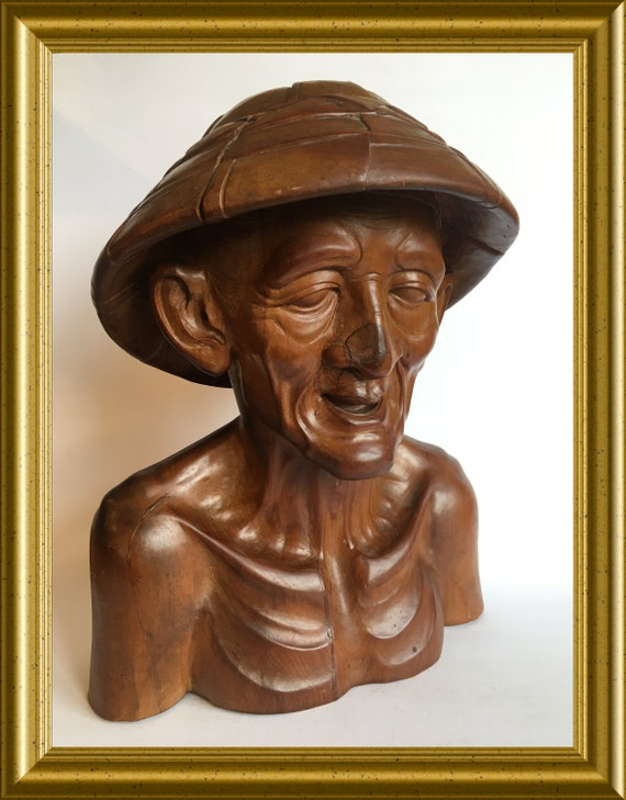 Gorgeous heavy Asian wood carving: wooden bust