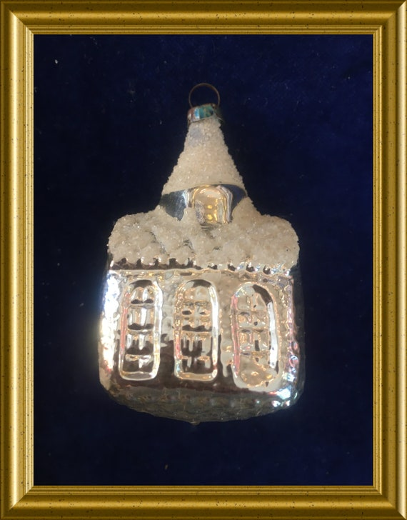 Vintage silver glass christmas ornament: small church