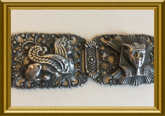 Vintage bracelet: Egyptian revival, pharaoh, sphinx, king tut