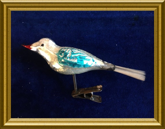 Antique glass christmas ornament : clip on bird