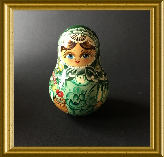 Russian wooden toy musical wobble doll/ tumbler, roly poly, handpainted
