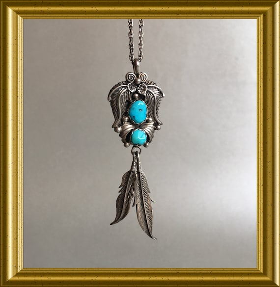 Vintage sterling Navajo pendant and necklace: KB Keyonnie Begay, turquoise, feather