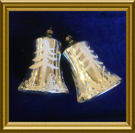 Two vintage glass christmas ornaments: bells