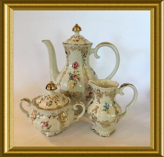 Vintage Bavaria porcelain service: coffee pot, creamer, sugar, Alka, Bavaria