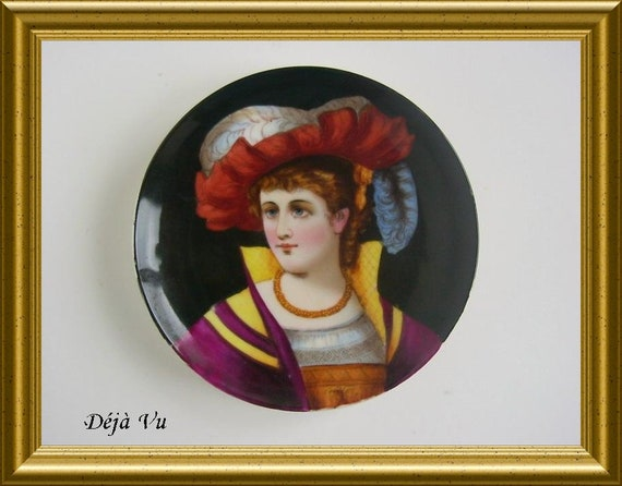 Antique handpainted porcelain plate : portrait, lady with hat