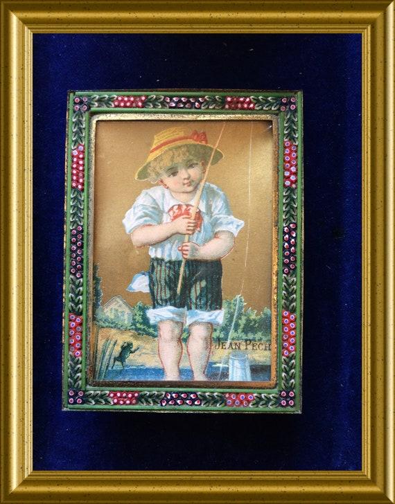 Vintage Italian micro glass mosaic frame, millefiori