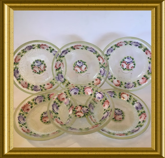 Set of six antique glass dishes with enamel painted flowers
