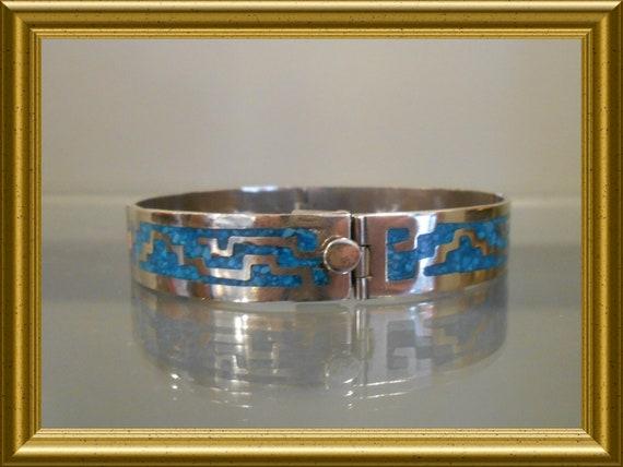 Vintage alpacca turquoise bracelet