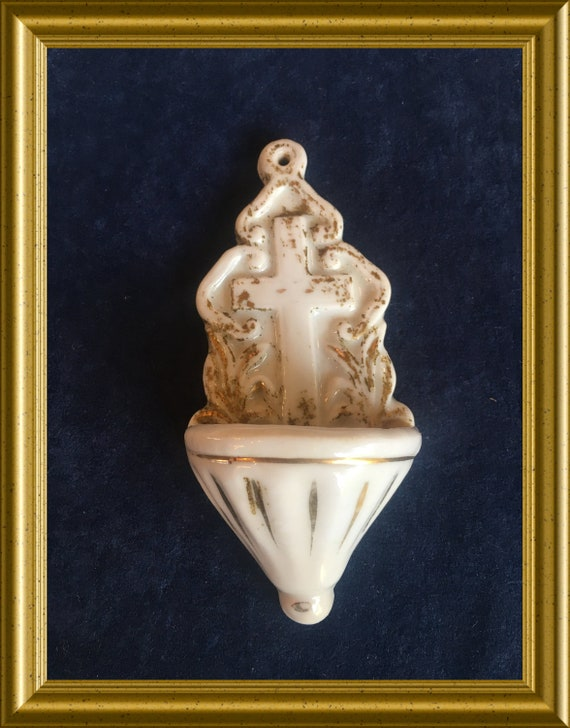 Antique small porcelain holy water font: cross