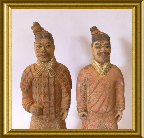 Two vintage terracotta figurines, red clay, terracotta army