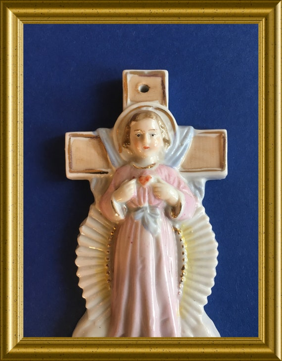 Vintage porcelain holy water font : Jesus child, sacred heart