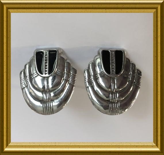Art deco clip on earrings