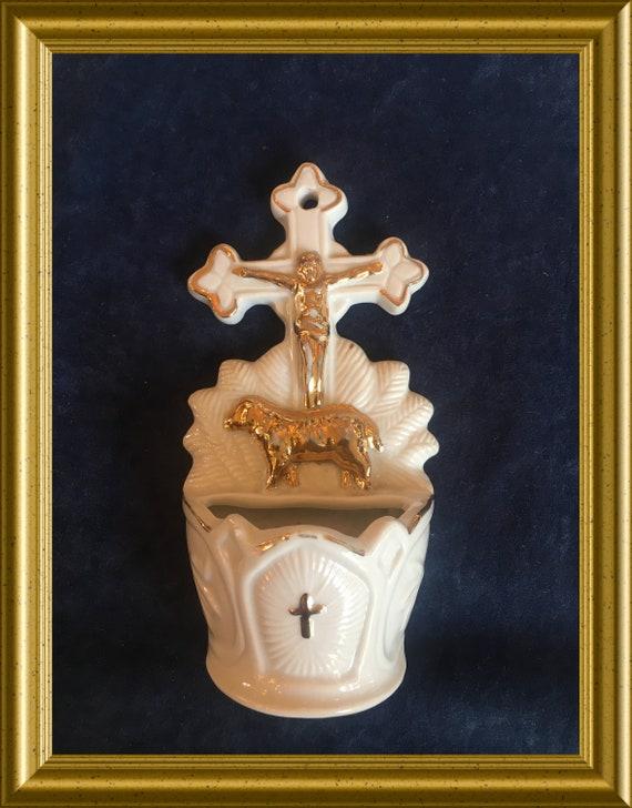Vintage porcelain holy water font: cross, Jesus, lamb
