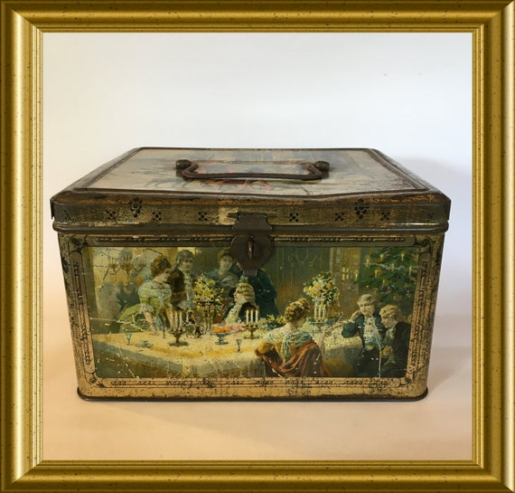 Antique christmas tin box