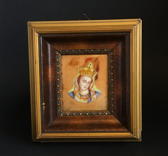 Vintage enamel plaque in frame : Holy Mary