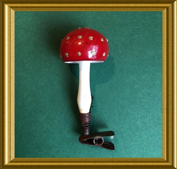 Vintage glass christmas ornament: mushroom on a clip