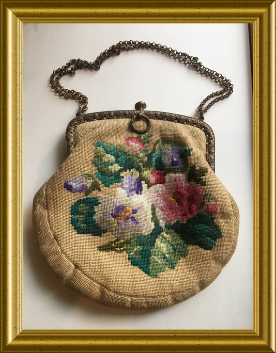 Antique gobelin purse, handbag, flowers