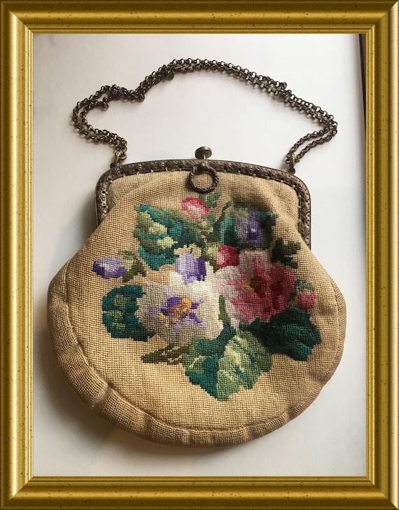 Antique gobelin purse, handbag, flowers