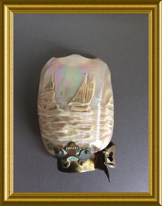 Antique candle shield, carved shell, mother of pearl