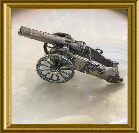Vintage sterling silver miniature cannon