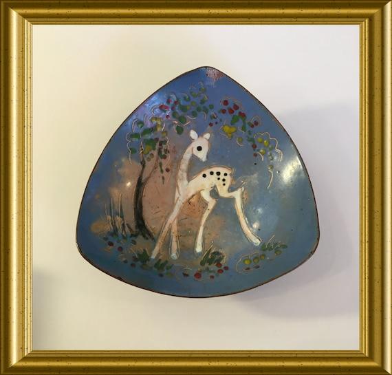 Vintage enamelled small brass dish: deer